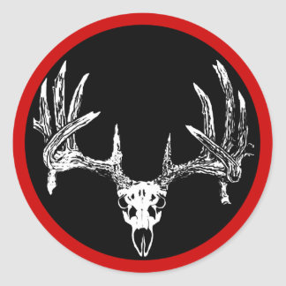 Whitetail deer skull w round sticker