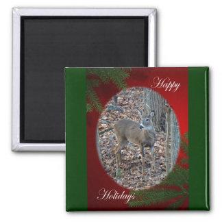 Whitetail Deer Spike Buck Happy Holidays Series Fridge Magnet