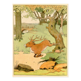 Whitetail Deer Stag Bolting in the Forest Postcard