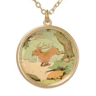 Whitetail Deer Stag Running in the Forest Round Pendant Necklace