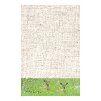 Whitetail Deer Wildlife Animals Fawns Personalized Stationery