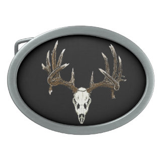 Whitetail skull belt buckles