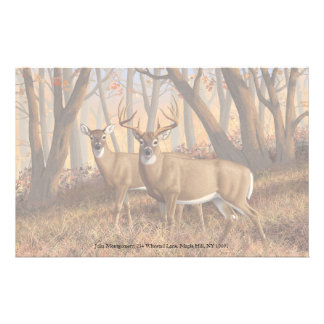 Whitetail Trophy Buck & Doe in Maple Woods Stationery