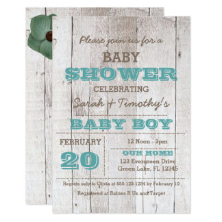 Whitewash Blue Baby Shower Invitation