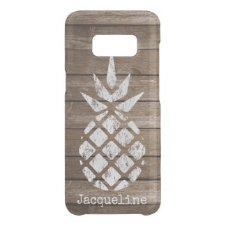 Whitewash Pineapple, Faux Wood, Personalize Option Uncommon Samsung Galaxy S8 Case