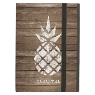 Whitewash Pineapple on Weathered Wood, Personalize iPad Air Case