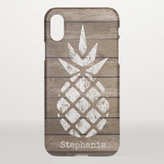 Whitewash Pineapple on Wood, Personalize Option iPhone X Case