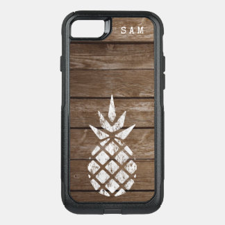 Whitewash Pineapple, Weathered Wood OtterBox Commuter iPhone 8/7 Case