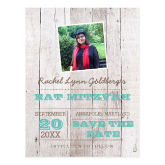 Whitewash Teal Bat Mitzvah Photo Save Date Postcard
