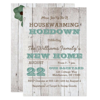 Whitewash Teal Housewarming Invitation