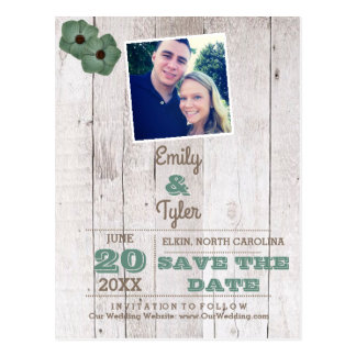 Whitewash Teal Rustic Wedding Save the Date Postcard