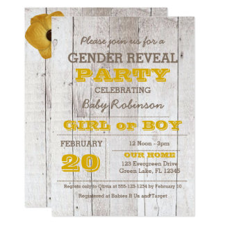Whitewash Yellow Gender Reveal Invitation