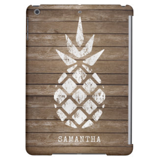 Whitewashed Pineapple on Weathered Wood Cover For iPad Air