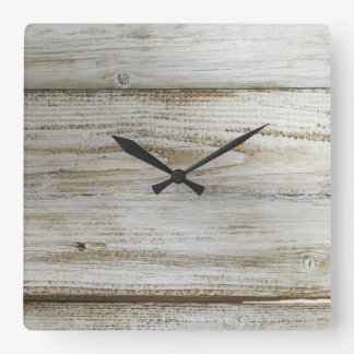 Whitewashed wooden board square wall clock