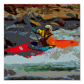 Whitewater Kayak Poster