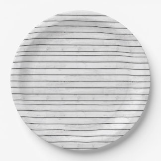 WhiteWoodSlats | Wrapping Papper Seamless | Stripe 9 Inch Paper Plate