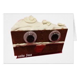 whitey chocolate cake face with logo card