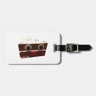 whitey chocolate cake face with logo luggage tag