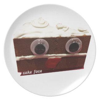 whitey chocolate cake face with logo plates