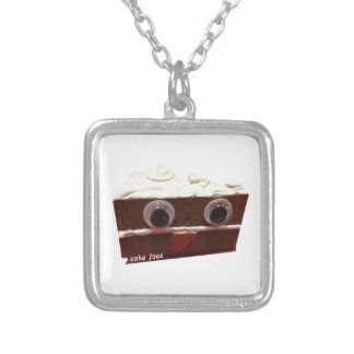 whitey chocolate cake face with logo silver plated necklace