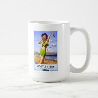 Whitley Bay Vintage Ad Basic White Mug