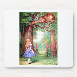 """""""WHO ARE YOU?"""" THE CHESHIRE CAT ASKS ALICE. MOUSE PAD"""