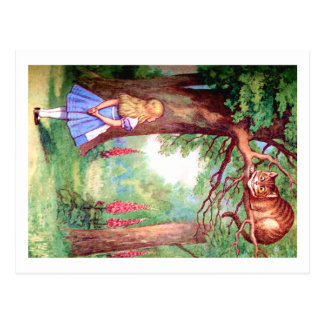 """WHO ARE YOU?"" THE CHESHIRE CAT ASKS ALICE. POSTCARD"