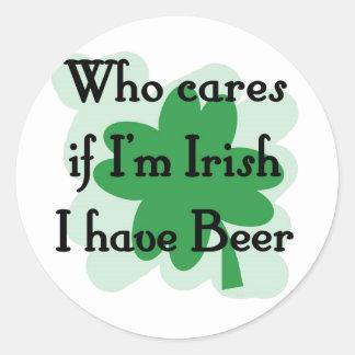 who care irish round stickers