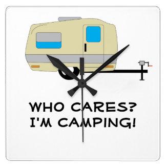 Who Cares, I'm Camping Wall Clocks