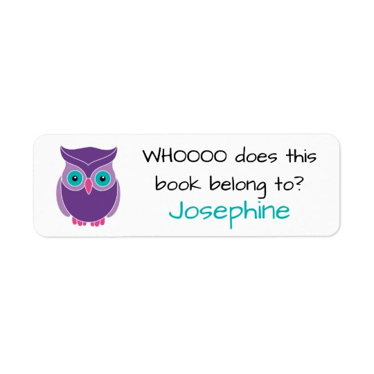 Who Does this Book Belong To Cute Kids Purple Owl Return Address Label