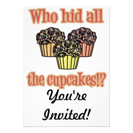 Who Hid the Cupcakes (camo) Personalized Announcements
