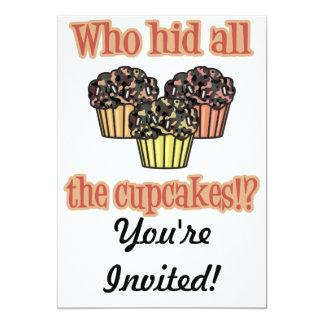 Who Hid the Cupcakes (camo) 13 Cm X 18 Cm Invitation Card
