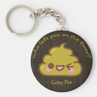 """Who left """"cutey"""" poo on the floor? basic round button key ring"""