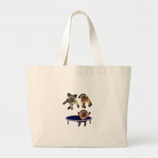 who let the pugs out large tote bag