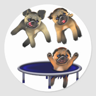 who let the pugs out round sticker
