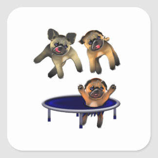 who let the pugs out square sticker