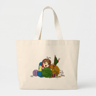 Who loves to knit? large tote bag