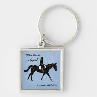 Who Needs a Gym? Fun Horse Silver-Colored Square Key Ring