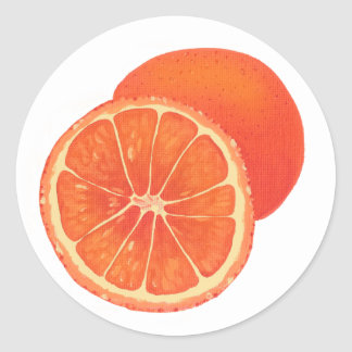Whole and Sliced Orange Fruit Food Stickers