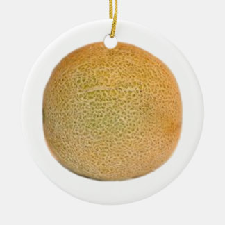 Whole Cantaloupe Melon Ceramic Ornament