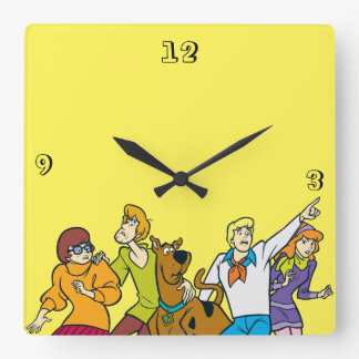 Whole Gang 13 Mystery Inc Square Wall Clock