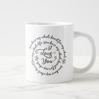 Whole Heart for Whole Life Love Valentine's Day Large Coffee Mug