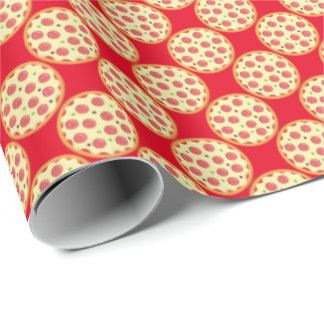 Whole pepperoni pizza tiled wrapping paper