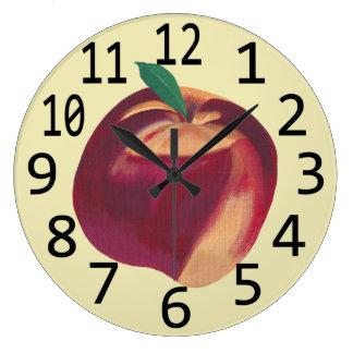 Whole Ripe Peach Fruit Themed Wall Clocks