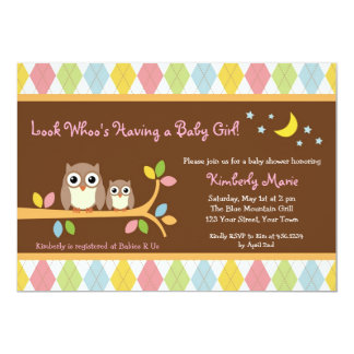 Whoo Loves You Owl Girl Baby Shower Invitation