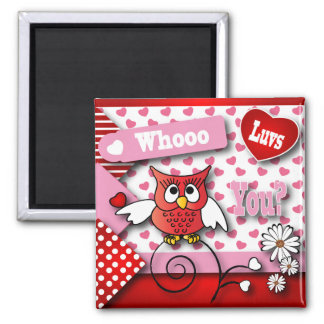 Whoo Luvs You Valentine Square Magnet