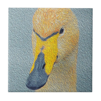 Whooper Swan Cygnet Bird Small Square Tile