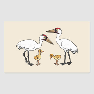 Whooping Crane Family Rectangular Sticker