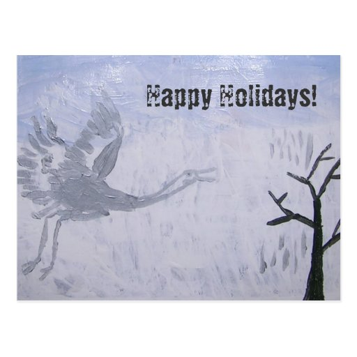 Whooping Crane Happy Holidays Post Cards