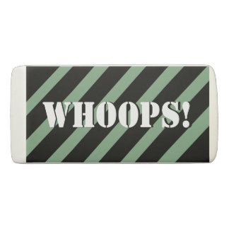 Whoops! Mint and black stripes Pattern Your Name Eraser